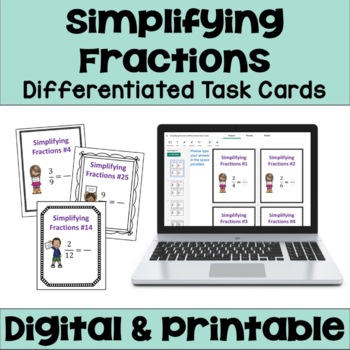 Simplifying Fractions Task Cards (Differentiated)