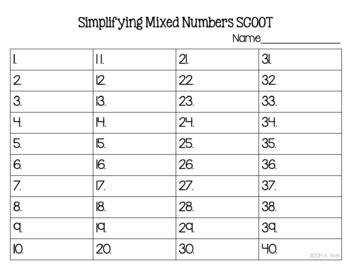 Fraction Task Cards Reducing Mixed Numbers