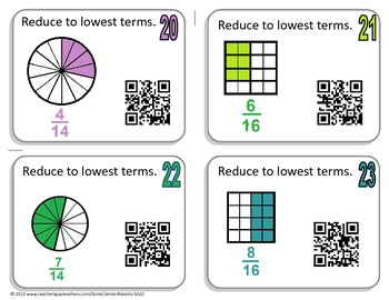 Fraction Task Cards (Self-Check with QR codes)