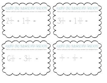 Fraction Task Cards Set 2