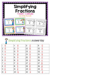 Fraction Task Cards Simplifying Fractions
