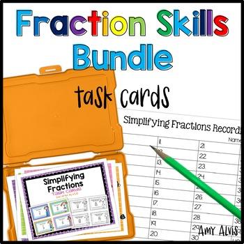Fraction Task Cards Skills Bundle