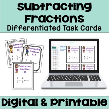 Subtracting Fractions Task Cards (3 Levels)
