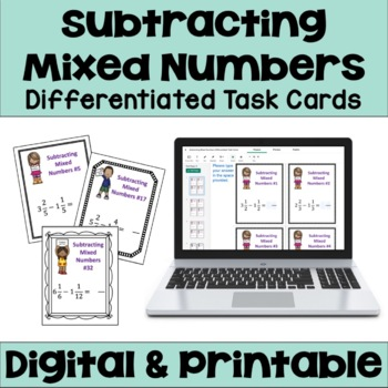 Subtracting Mixed Numbers Task Cards (3 Levels)