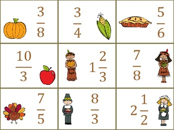 Fraction Task Cards - Thanksgiving Theme