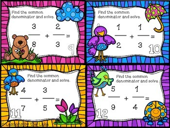 Fraction Task Cards {Uncommon denominator & mixed numbers}