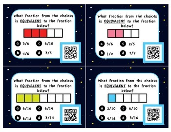 Fraction Task Cards - With QR Codes