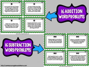 Fraction Task Cards (Word Problems) - Adding & Subtracting Fractions