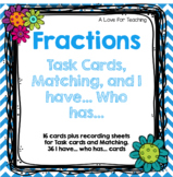 Fraction Task Cards and Fraction Parts of a Set Matching {Paper + Digital}