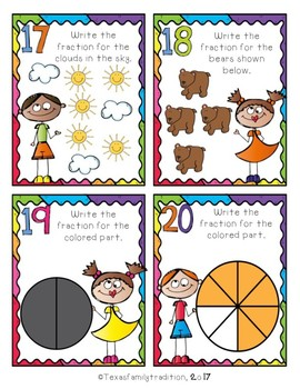 Fraction Task Cards for 2nd Grade