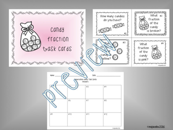 Fraction Task Cards with Candy