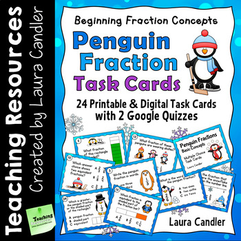 Fraction Task Cards Multiple Choice with Google Quizzes (Penguin Fractions)