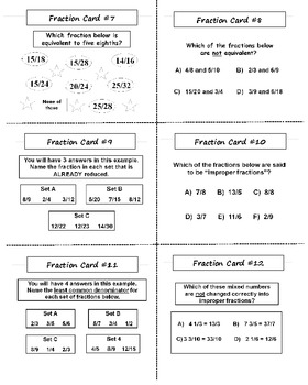 Fraction Task Cards with Lesson Plan (30 Cards)