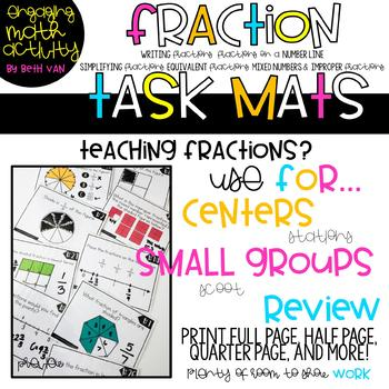 Fraction Task Mats (Equivalent Fractions, Mixed Numbers, Simplifying)