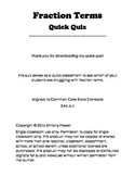 Fraction Terms Quiz - FREEBIE