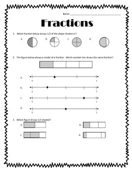 fraction test by 3rd grade life teachers pay teachers. Black Bedroom Furniture Sets. Home Design Ideas