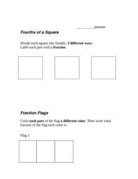 Fraction Test - 2nd Grade SOLs - Based on Investigations