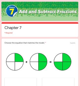 Fraction Test 4th Grade (Go Math) - Adding & Sub, Mixed & Improper, Renaming