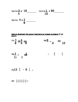 Fraction Test Review