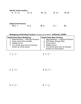 Fraction Test (Special Education)