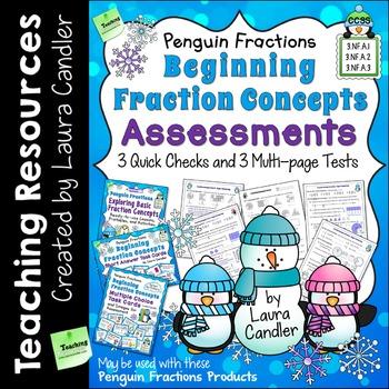 Fraction Tests for 3rd Grade (Basic Penguin Fractions)
