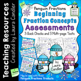 Fraction Tests for 3rd Grade (Basic Penguin Fractions)