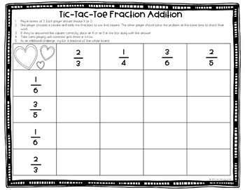 Fraction Tic-Tac-Toe Adding & Subtracting Fractions with Unlike Denominators.