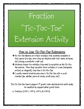 Fraction Tic-Tac-Toe Extension Activity