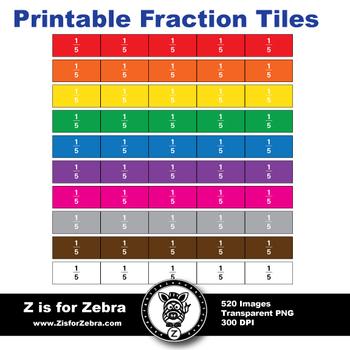 Fraction Tile Set - 562 Images - Commercial Use OK - Z is for Zebra