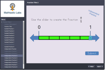 Fraction Tiles 2 (SCORM) Identifying Basic Fractions on a Number Line