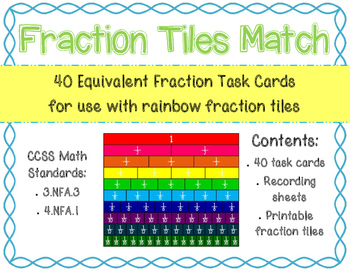Fraction Tiles Match: Task Cards to find equivalent Fractions
