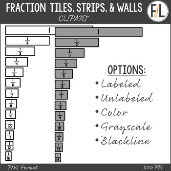 Fraction Tiles, Fraction Strips, & Fraction Walls - Clipart Collection