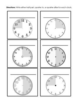 Fraction Time Clock Worksheet
