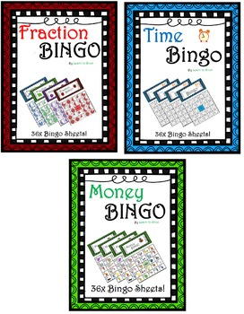 Fraction Time and Money Bingo! 3 sets of 36 sheets!!