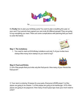 Fraction Times Whole Number Word Problem Party