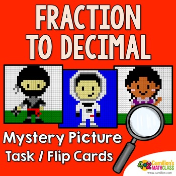 Converting Fraction To Decimal Mystery Picture Task Cards