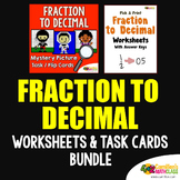 Converting Decimals to Fractions and Fraction to Decimal Coloring Sheets