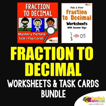Converting Fraction To Decimal (and Frac to Dec) Worksheet