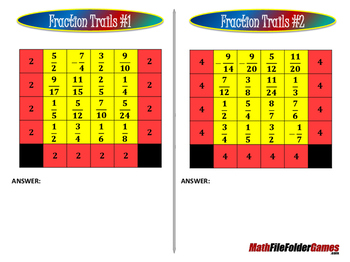 Fraction Trails - Adding Fractions Game