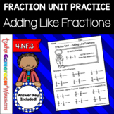 Fraction Unit - Adding Like Fractions Worksheet