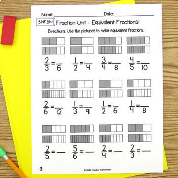 Fraction Unit Worksheet Bundle