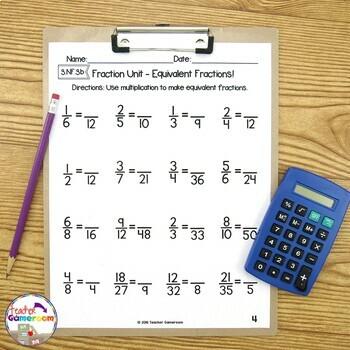 Fraction Unit  Equivalent Fractions Worksheet By Teacher Gameroom Fraction Unit  Equivalent Fractions Worksheet