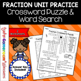Fraction Unit - Fraction Crossword and Word Search