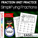 Fraction Unit - Simplifying Fractions Worksheet