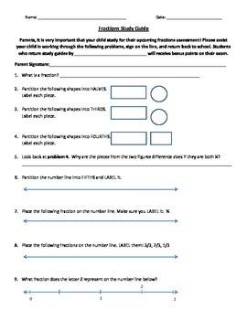 Fraction Unit Study Guide