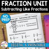 Fraction Unit - Subtracting Like Fractions Worksheet