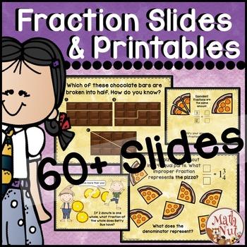 """Fraction Slides & Printables """"Fraction Worksheets"""""""