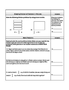 Fraction Unit Test Comprehensive 5th Grade