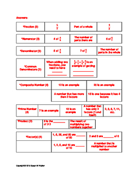 Fraction Vocabulary Card Match Up/Sort & Matching Worksheet (9 Terms)