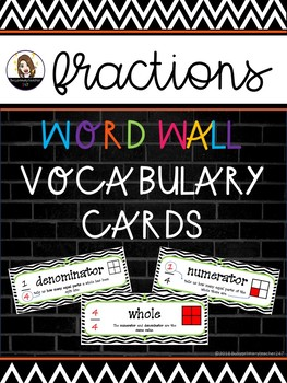 Fractions Word Wall Vocabulary Cards
